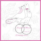 Wedding element of kissing doves. Vector wedding element of kissing doves with rings on floral background. Bride and groom Royalty Free Stock Images
