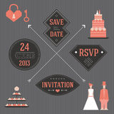 Wedding elements with a cake. Vector elements for wedding invitations Royalty Free Stock Photo