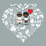 Wedding  elements in hearts composition with baby bride and groo Stock Photos