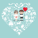 Wedding elements in hearts composition with baby bride and groom Royalty Free Stock Photography
