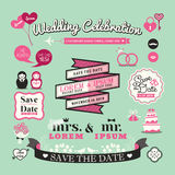 Wedding Elements labels and frames Vintage Style icons Royalty Free Stock Photography