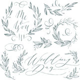 Wedding elements. Linear sketch wedding elements for invitation or logo, with leaf and flowers Stock Images