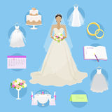 Wedding Elements in Round Buttons Marriage Concept Stock Photos