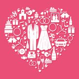 Wedding elements in the shape of a heart Royalty Free Stock Photo