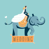 The wedding elephant. The bride and groom riding on an elephant.  vector illustration. Template for invintation cards Royalty Free Stock Image