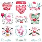 Wedding emblems set.Invitations,Labels,decor Royalty Free Stock Image