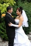 Wedding embrace. Wedding pair - face to face Royalty Free Stock Photos