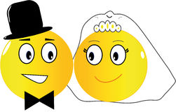Wedding emoticons. Two emoticons: the bride and the groom just married Stock Photo