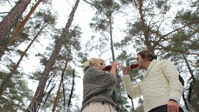 Wedding Engagement Ceremony in Winter Forest stock footage
