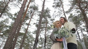 Wedding Engagement Ceremony in Winter Forest stock video footage