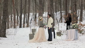 Wedding Engagement Ceremony in Winter Forest stock video