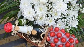 Wedding or engagement flower set in a basket Stock Image