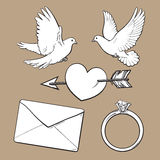 Wedding, engagement icon set with doves, heart, ring, love letter Royalty Free Stock Photography