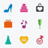 Wedding, engagement icons. Cake, gift box. Stock Photography