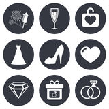 Wedding, engagement icons. Locker with heart Stock Image
