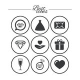 Wedding, engagement icons. Love oath letter. Wedding, engagement icons. Love oath letter, gift box and brilliant signs. Dress, heart and champagne glass symbols Stock Photo