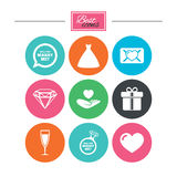 Wedding, engagement icons. Love oath letter. Wedding, engagement icons. Love oath letter, gift box and brilliant signs. Dress, heart and champagne glass symbols Royalty Free Stock Photos