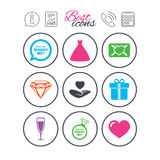 Wedding, engagement icons. Love oath letter. Information, report and calendar signs. Wedding, engagement icons. Love oath letter, gift box and brilliant signs Royalty Free Stock Images