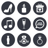 Wedding, engagement icons. Ring with diamond Stock Photo
