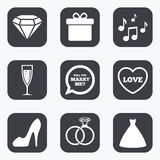 Wedding, engagement icons. Rings, gift box. Royalty Free Stock Photography