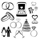 Wedding/engagement icons Royalty Free Stock Images