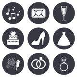 Wedding, engagement icons. Vow love letter Royalty Free Stock Image
