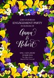 Flowers vector engagement party invitation card. Wedding or engagement party invitation card of blooming flowers tulips and orchids and lily blossoms. Vector Royalty Free Stock Photos