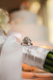 Wedding and engagement rings Stock Photography