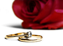 Wedding and engagement rings. Bright red rose with golden wedding and engagement ring Royalty Free Stock Photography