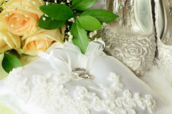 Wedding and engagement rings with accessories Royalty Free Stock Photo