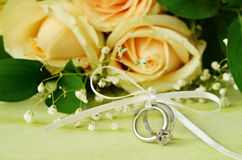 Wedding and engagement rings Stock Photos
