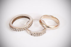 Wedding and engagement rings. Stock Photography