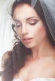 Wedding. Engagement.  Sentimental Likable Bride in Transparent Voile Royalty Free Stock Image