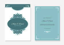 Wedding envelope template laser cutting. Wedding invitation and envelope template with laser cutting filigree oval frame. Emerald and white colors Stock Images