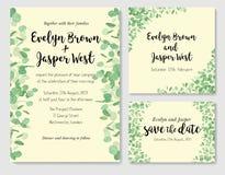 Wedding eucalyptus horizontal vector design banner. Rustic green Stock Photography