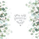 Wedding eucalyptus sides vector design banner card stock illustration
