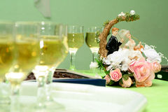 For wedding event. Wine goblets arranging in row for wedding event Stock Photography