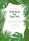Wedding event invitation card template. Exotic tropical jungle r. Ainforest bright green palm tree and monstera leaves border frame on white background. Vertical royalty free illustration