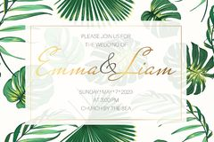 Wedding event invitation card template. Exotic tropical jungle bright green palm tree monstera leaves border frame. Wedding event invitation card template stock illustration