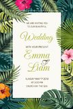 Wedding event invitation card template. Exotic tropical jungle rainforest bright green palm tree and monstera leaves hibiscus flowers border frame on dark stock illustration