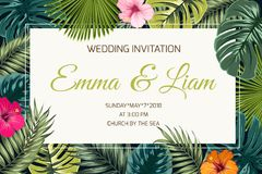 Exotic tropical jungle wedding event invitation. Wedding event invitation card template. Exotic tropical jungle rainforest bright green palm tree and monstera Royalty Free Stock Photo