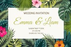 Exotic tropical jungle wedding event invitation stock illustration