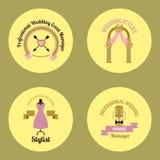 Wedding event manager agency logo badge vintage template vector illustration. Stock Photo