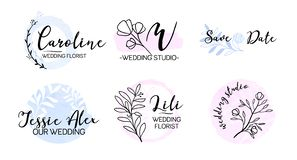Wedding event planner monogram logo set vector illustration