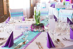 Wedding or event table Stock Image