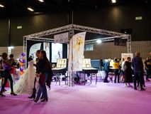 Wedding Exhibition Paris 2018. PARIS, FRANCE - OCT 6, 2018: Wedding Exhibition Paris 2018 with people - customers and exhibitions preparing for the marriage royalty free stock photo