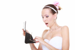 Wedding expense. Bride with empty purse Royalty Free Stock Photography