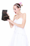 Wedding expense concept. Bride with empty purse Stock Photo
