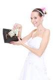Wedding expense concept. Bride with purse and one dollar Stock Photography