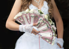 Wedding fan-bouquet decorated with roses Royalty Free Stock Image